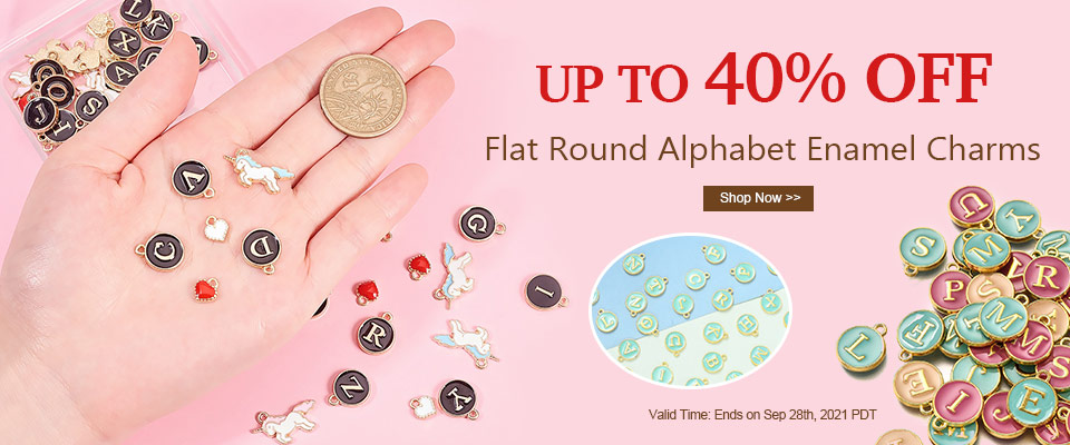 Flat Round Alphabet Enamel Charms UP TO 40% OFF