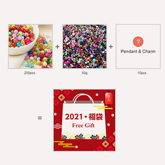 Lucky Bag, 50pcs Iron Earring Hooks & 200pcs Round Glass Beads & 10pcs Chandelier Component Links, Mixed Color, 10~105mm, Mixed Color, 10~105mm
